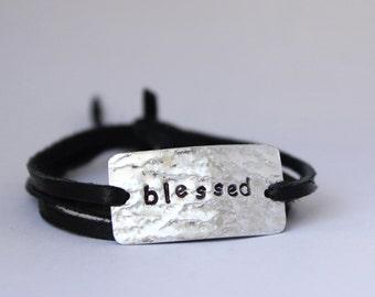 CUSTOM word bracelet, hand stamped, gift for mom, inspirational, graduation gift, mother's day, wrap bracelet
