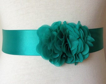 Flower Girl Sash-Jade Green Sash-Girl Dress Sash-Wedding Sash-Simple Girl Sash-Flower Girl Accessory-Ruffle Chiffon Flowers Sash