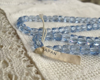 Vintage Japanese 7 x 7 mm Faceted Glass Cube Beads Light Sapphire - 30
