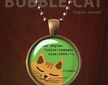 CSS Orange Cat Necklace, Orange Cat Pendant, Geek Cat Necklace, Geeky Cat, Programming Code