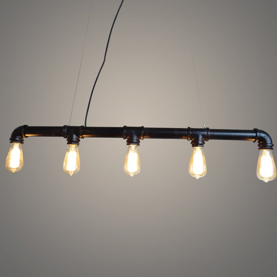 5 Heads Edison Bulb Water Pipe Ceiling Lamp Water Pipe
