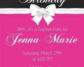 21st Birthday Invitation - 21st Birthday Party Invitation - Diamond Ribbon Party Invite