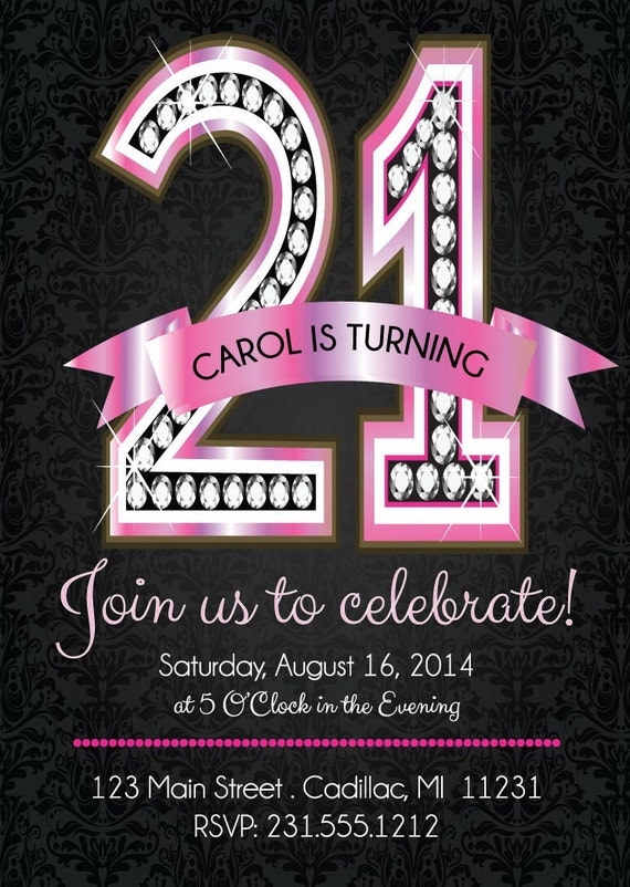 21st Birthday Invitations Pink Diamond 21st Birthday