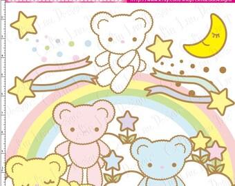 Bear Digital Clipart(A016)/Star/Cloud/Moon/Rainbow/KAWAII clip art/ INSTANT DOWNLOAD