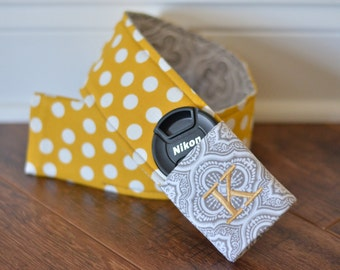 Camera Strap Cover with monogrammed lens cap pocket (grey/yellow polka dot)