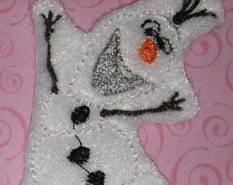 Set of 4 Frozen Olaf Snowman Snow Man Feltie Felt Embellishment Bow! Felties Planner Clip Birthday Party Applique Dancing Olaf