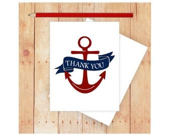 Anchor Thank You Card, Nautical Thank You Card, Nautical Thank Notes, Thank You Note Cards, Blank Thank You Card Set, Sailing Thank You