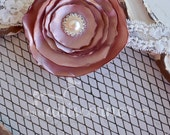 Vintage Dusty Rose Satin Flower  Lace Headband