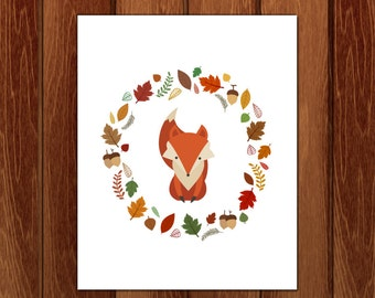 Fall fox printable nursery art, Instant Download