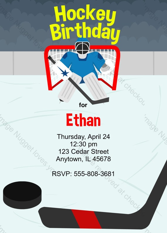 Ice Hockey Birthday Invitation printable design