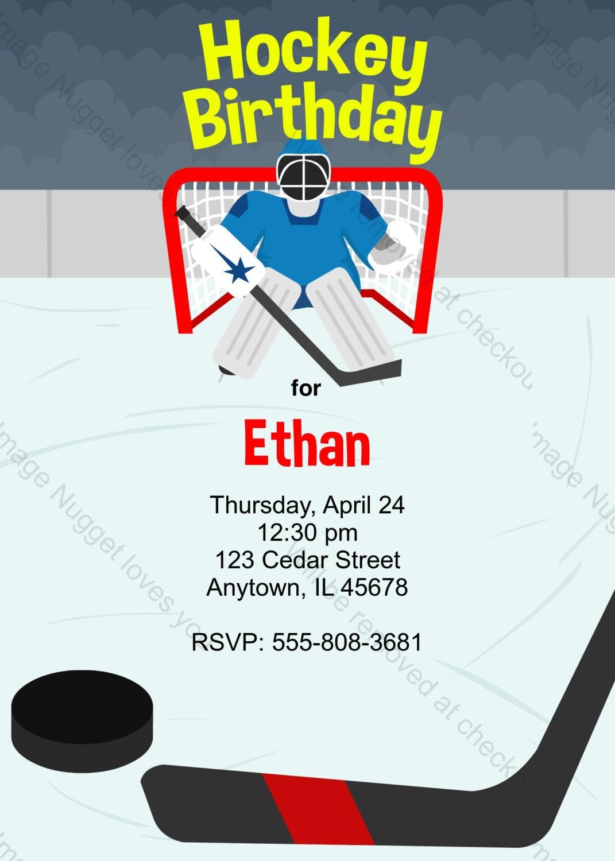 ice hockey birthday invitation printable design. Black Bedroom Furniture Sets. Home Design Ideas