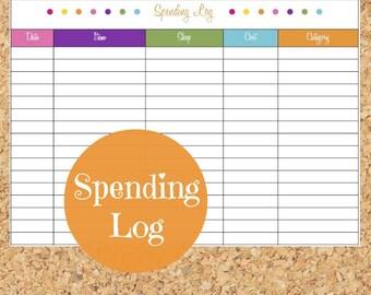 Spending Log - Bright Color, Budget Binder, Finance Printable, Household Money - PDF Printable