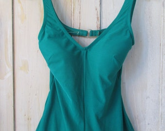 Women's Vintage 1980's Teal One Piece 50's Style Bathing Suit Size S/M