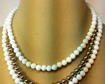 Marvella Necklace, White Beads, Gold Chain, Gold Beads, 3 Strands