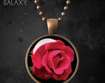 Red Rose Pendant, Flower, Vintage, Glass Dome, Rose Necklace