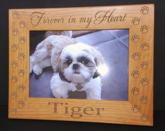 Dog Memorial Picture Frame 5x7 Pet Custom Laser Engraved Frame, Forever In My Heart, Cat Memorial Frame