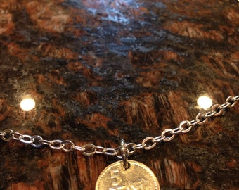 Fiji 5 cents coin necklace