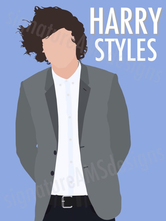Minimalist Digital Artwork of ONE DIRECTION Band Member, Harry Styles. ( 11.7x16.5 inches / A3 )
