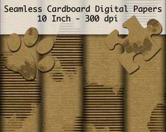 Seamless Worn Cardboard Digital Scrapbook Papers 10 Inch 300 DPI