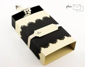 Bridesmaid Gift Box Black and Beige Favor Box Customizable Handmade  jewelry packaging match box