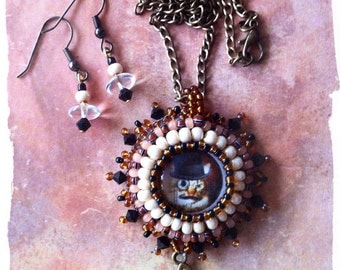 "Steampunk cat ""Sir Thomas "" pendant & earrings"
