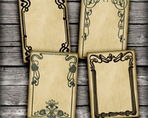 Art Nouveau Jewelry Holders 2.5x3.5 inch ATC cards, Gift Tags Printable Digital Collage Sheet - Printable Download