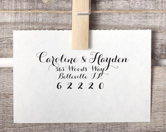 Custom Return Address Stamp - Return Address Stamp - Calligraphy Stamp Style No. 35