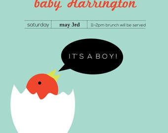 Little bird baby shower invitation, custom invite design, 5x7 or 4x6