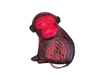 Zoo Animal Gifts - Monkey Wristlet Clutch Purse - Red Leather With Black Detail Coin Pouch With Wrist Strap and Zipper -Handmade -Item #1269