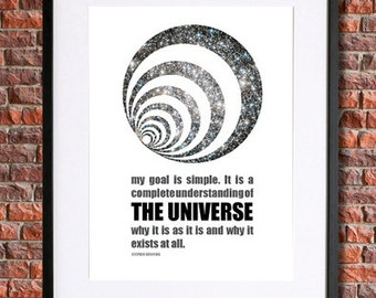 Stephen Hawking Science Art | Instant Download Printable Science Poster | Science Quote | Geekery | Science Wall Art | Science Art Print