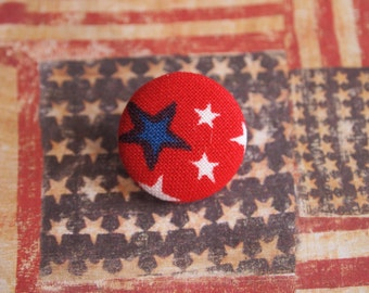 Red, white, and blue Independence Day 4th fourth of July fabric covered buttons (size 60, 40, 32, 20, or 18)
