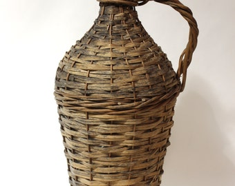 antique -wicker covered bottle- Turn-of-the-Century Demijohn. Large. Found in Charleston