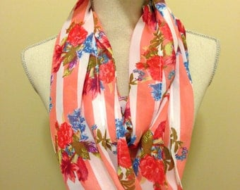 Stripes and Floral Infinity Scarf