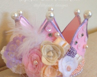 SugarCake Deluxe princess crown party hat photography prop handmade birthday crown felt pink crown party birthday girl