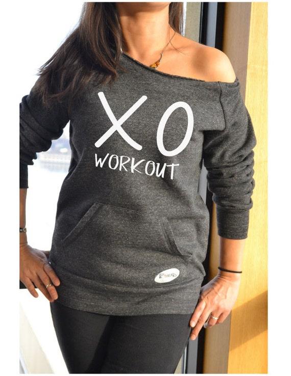 Women 39 s workout sweatshirt off shoulder shirt xoxo for Design your own workout shirt