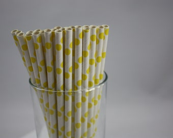 White and Yellow Polka Dot Paper Straws - yellow and white - white and yellow - baby shower  - birthday party - large dots - yellow dots
