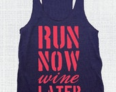 SALE!!! LARGE Navy/Coral Run Now Wine Later  Eco Tank