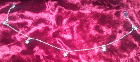 Star Anklet Sterling Silver Chain & Swarovski Star Charms, Moon, Stars, Jewelry, Gifts for Women, Teen Girls, Charm Anklets, Crystal Anklet