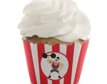 12 Circus / Carnival Cupcake Wrappers - Cupcake Decorations for a Baby Shower or Birthday Party