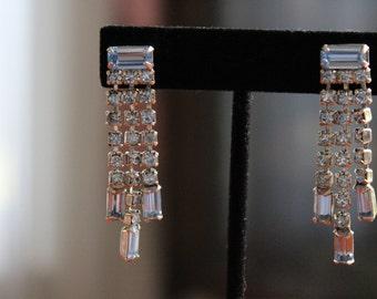 VIntage Wiesner Blue Rhinestone Earrings with Screw Backs
