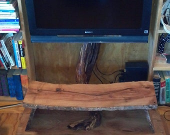 Solid Mesquite Entertainment Stand with multiple tiers.