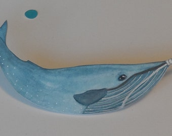 Shrink Plastic Hand Painted Blue Whale In Disguise Brooch