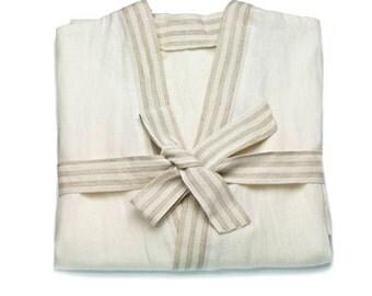 Linen BATHROBE - Linen robe - gift idea - kimono bathrobe - linen Sleepwear - bathrobe - linen bride robe - bridal gown - bathrobe unisex
