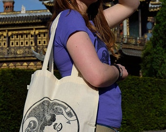 TSUNOIID Tote Bag in organic cotton - Linocut print in limited and numbered series