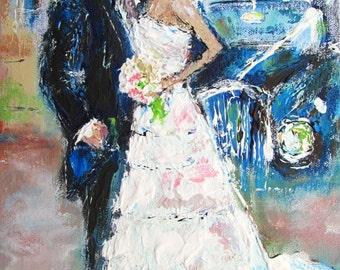 Wedding Gift For Artsy Couple : ... , semi impasto artistic style, a unique gift for the happy couple