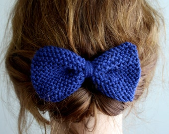 Knit Hair Bow in Blue - Winter Accessories