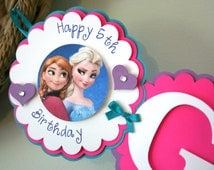 Frozen Party Decorations Frozen Elsa & Anna Personalized Name Banner Happy Birthday Banner  Birthday Decorations  Birthday Banner