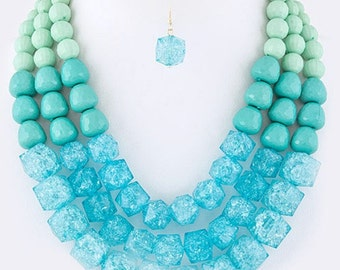 ON SALE Multi strands beaded Necklace, three strands, Turquoise and mint necklace, chunky, Gift idea.