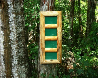 Wooden 4x6 picture frames / photo collage frames - 4 opening picture frame handmade from reclaimed pine logs - comes w/ backing-glass-hanger