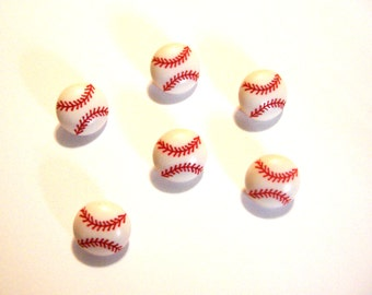 """Mini Baseball Buttons (5/8"""") Jesse James Buttons Baseball Dress It Up Buttons Set of 6 Shank Back - 885 D"""